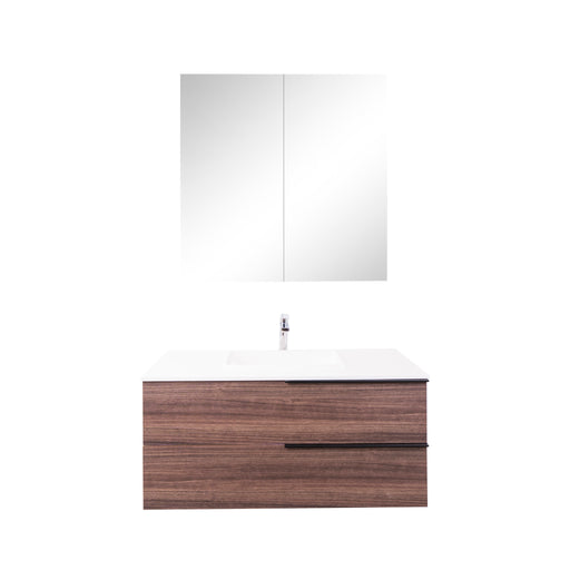 Aquamoon  Mallorca 36 Walnut Wall Mounted Modern Bathroom Vanity Set  With Solid Surface Sink