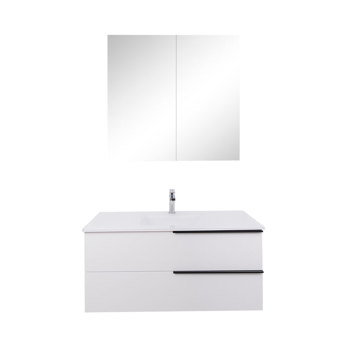 Aquamoon  Mallorca 36 White Wall Mounted Modern Bathroom Vanity Set  With Glass Sink