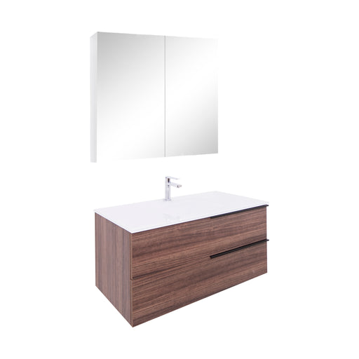 Aquamoon  Mallorca 39 Walnut Wall Mounted Modern Bathroom Vanity Set  With Glass Sink