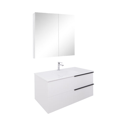 Aquamoon Mallorca 39 White Wall Mounted Modern Bathroom Vanity Set With Glass Sink - Bath Trends USA