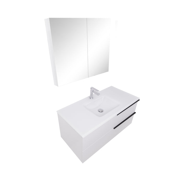 Aquamoon  Mallorca 39 White Wall Mounted Modern Bathroom Vanity Set  With Glass Sink
