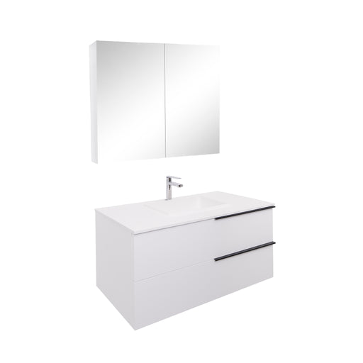 Aquamoon  Mallorca 39 White Wall Mounted Modern Bathroom Vanity Set  With Solid Surface Sink