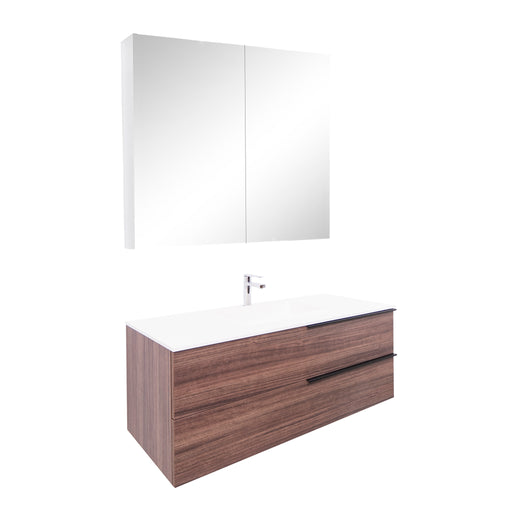 Aquamoon  Mallorca 48 Walnut Wall Mounted Modern Bathroom Vanity Set  With Solid Surface Sink