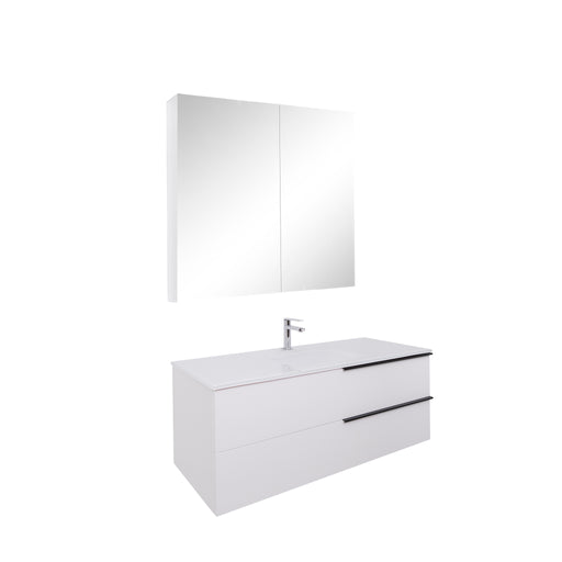 Aquamoon Mallorca 48 White Wall Mounted Modern Bathroom Vanity Set With Glass Sink - Bath Trends USA