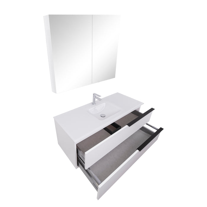 Aquamoon  Mallorca 48 White Wall Mounted Modern Bathroom Vanity Set  With Glass Sink