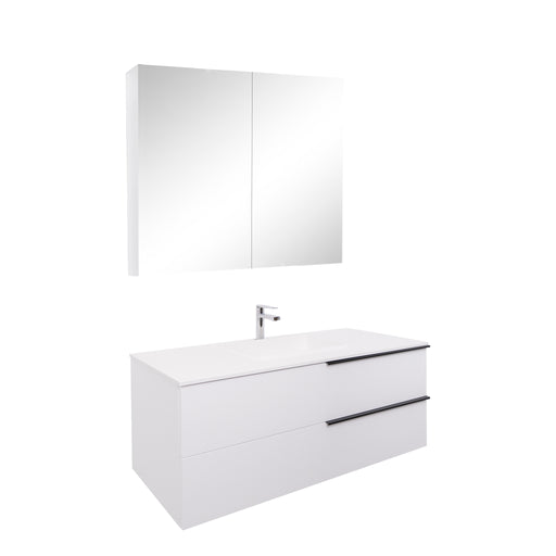 Aquamoon Mallorca 48 White Wall Mounted Modern Bathroom Vanity Set With Solid Surface Sink - Bath Trends USA