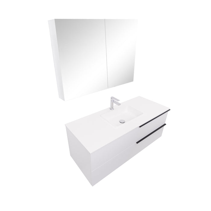 Aquamoon  Mallorca 48 White Wall Mounted Modern Bathroom Vanity Set  With Solid Surface Sink