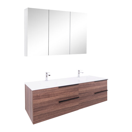 Aquamoon Mallorca 63 Double Sink Walnut Wall Mounted Modern Bathroom Vanity Set With Glass Sink - Bath Trends USA