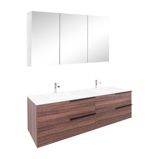 Aquamoon Mallorca 63 Double Sink Walnut Wall Mounted Modern Bathroom Vanity Set With Solid Surface Sink - Bath Trends USA