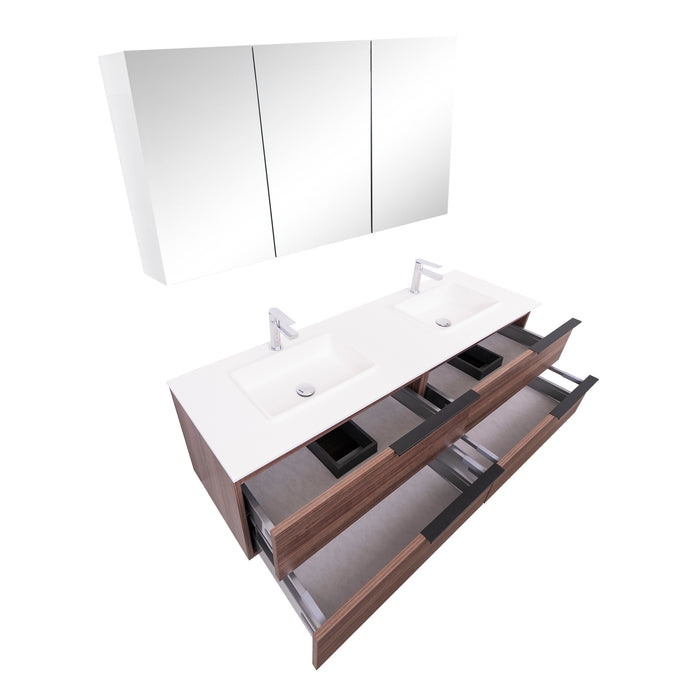 Aquamoon  Mallorca 63 Double Sink  Walnut Wall Mounted Modern Bathroom Vanity Set  With Solid Surface Sink