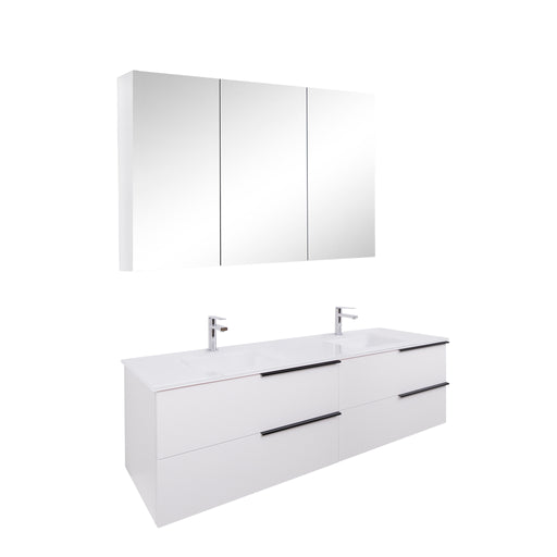 Aquamoon Mallorca 63 Double Sink White Wall Mounted Modern Bathroom Vanity Set With Glass Sink - Bath Trends USA