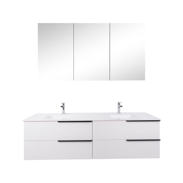 Aquamoon  Mallorca 63 Double Sink  White Wall Mounted Modern Bathroom Vanity Set  With Glass Sink