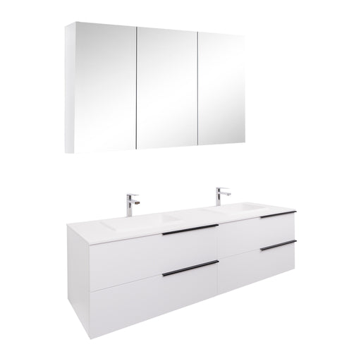 Aquamoon  Mallorca 63 Double Sink  White Wall Mounted Modern Bathroom Vanity Set  With Solid Surface Sink