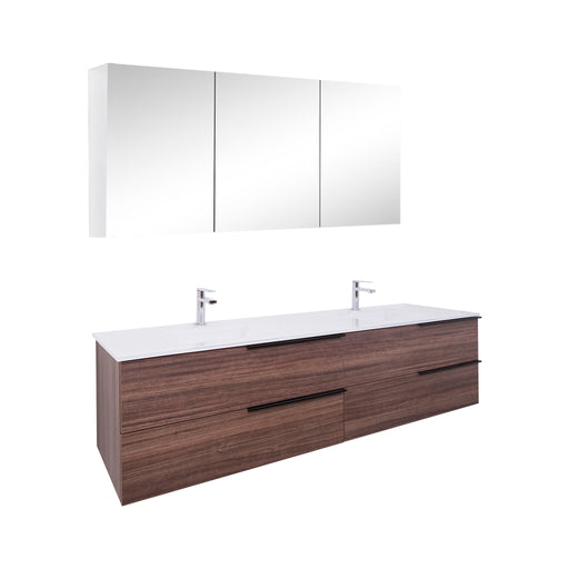 Aquamoon Mallorca 72 Double Sink Walnut Wall Mounted Modern Bathroom Vanity Set With Glass Sink - Bath Trends USA