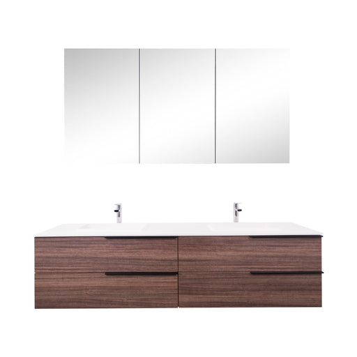 Aquamoon Mallorca 72 Double Sink Walnut Wall Mounted Modern Bathroom Vanity Set With Solid Surface Sink - Bath Trends USA