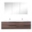 Aquamoon  Mallorca 72 Double Sink  Walnut Wall Mounted Modern Bathroom Vanity Set  With Solid Surface Sink