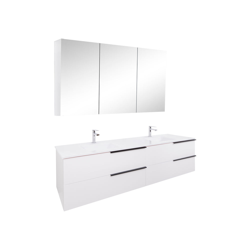 Aquamoon  Mallorca 72 Double Sink  White Wall Mounted Modern Bathroom Vanity Set  With Glass Sink