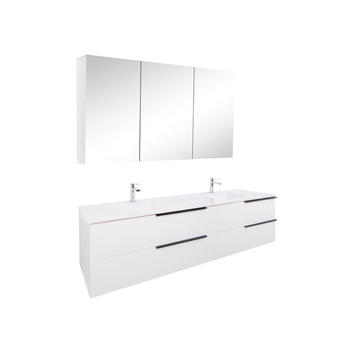 Aquamoon Mallorca 72 Double Sink White Wall Mounted Modern Bathroom Vanity Set With Glass Sink - Bath Trends USA