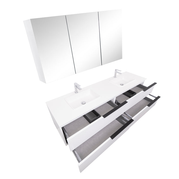 Aquamoon  Mallorca 72 Double Sink  White Wall Mounted Modern Bathroom Vanity Set  With Solid Surface Sink