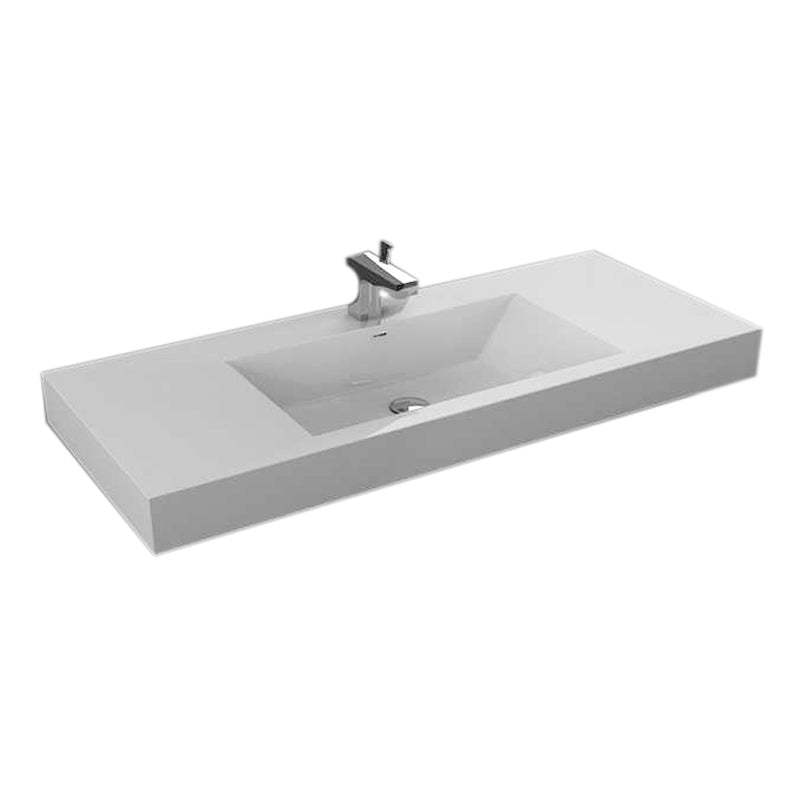 "Aquamoon Maya 47"" Integrated Countertop White Square  Sink"