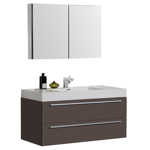 Aquamoon Maya 47 Grey Brown Hg Wall Mounted Modern Bathroom Vanity Set