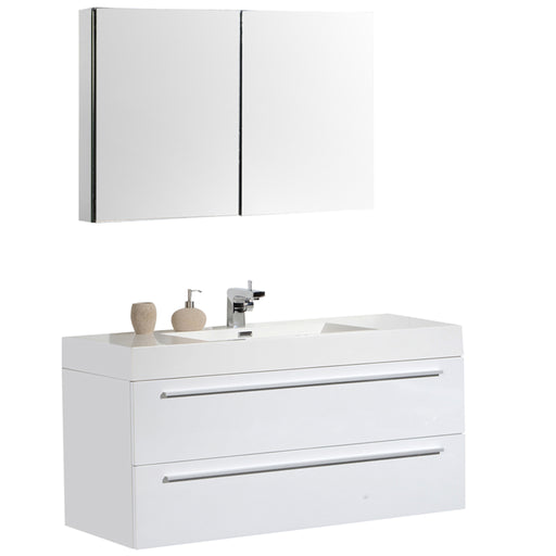 Aquamoon Maya 47 White Hg Wall Mounted Modern Bathroom Vanity Set - Bath Trends USA