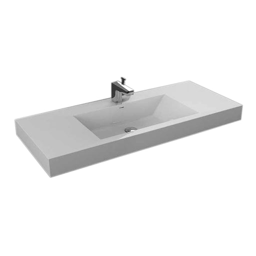 "Aquamoon Maya 60"" Integrated Countertop White Square  Sink"