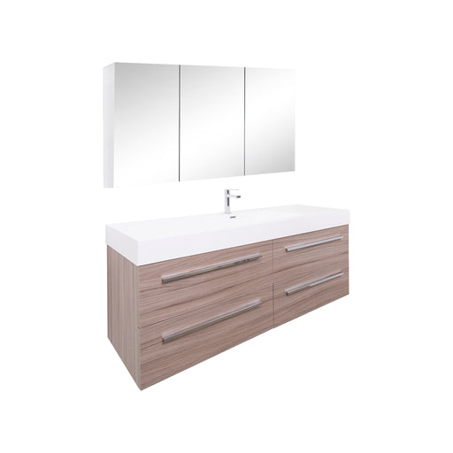Aquamoon Maya 60 Maple Grey Wall Mounted Modern Bathroom Vanity Set