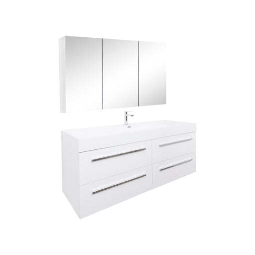 Aquamoon Maya 60 White Hg Wall Mounted Modern Bathroom Vanity Set