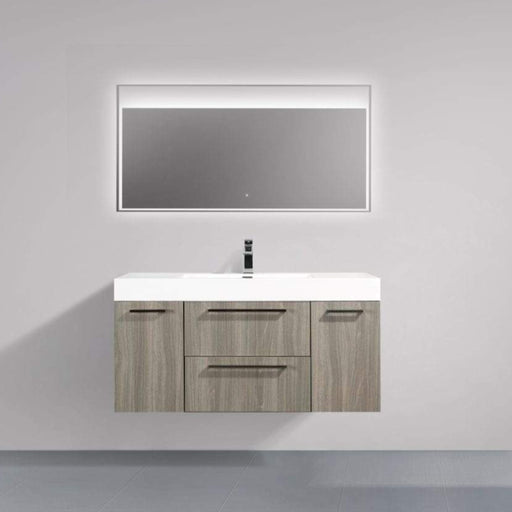 Aquamoon Maya Duo 47  Maple Grey Wall Mounted Modern Bathroom Vanity Set  Cabinet