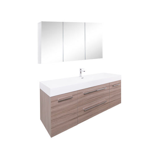 Aquamoon Maya Duo 60 Maple Grey Wall Mounted Modern Bathroom Vanity Set