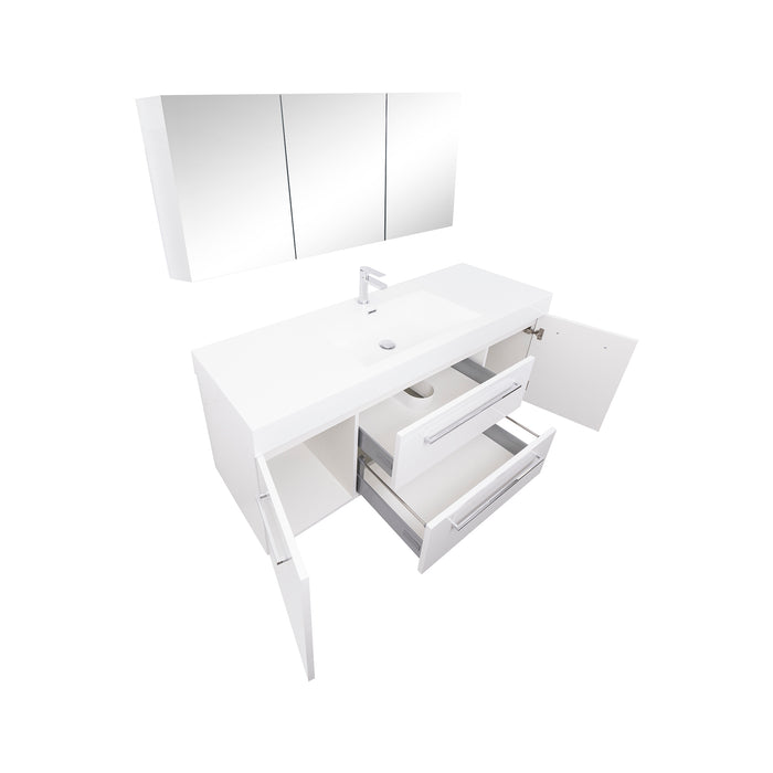 Aquamoon Maya Duo 60 White Hg Wall Mounted Modern Bathroom Vanity Set