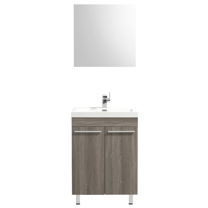 Aquamoon Ocean 24 Maple Grey Free Standing Modern Bathroom Vanity Set