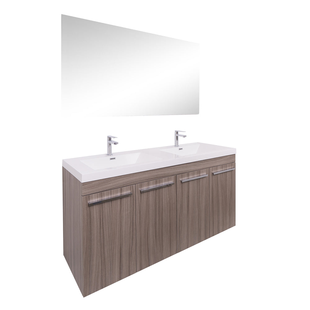 Aquamoon Ocean 60 Double Sink Maple Grey Free Standing Modern Bathroom Vanity Set