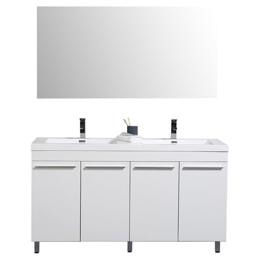 Aquamoon Ocean 60 Double Sink White Free Standing Modern Bathroom Vanity Set