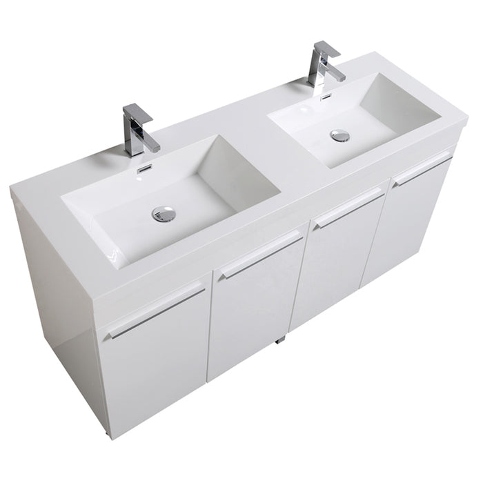 Aquamoon Ocean 60 Double Sink White Free Standing Modern Bathroom - CABINET ONLY