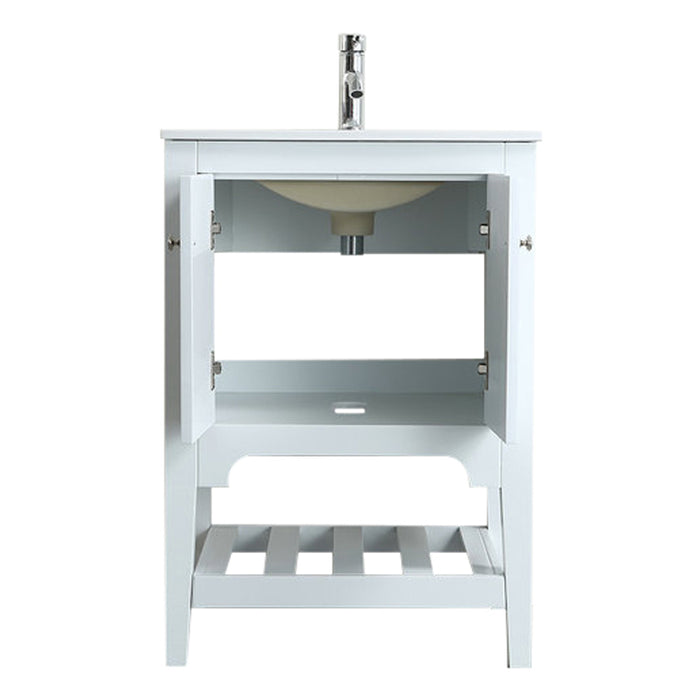 Aquamoon Rimini 24 White Free Standing Modern Bathroom Vanity Set