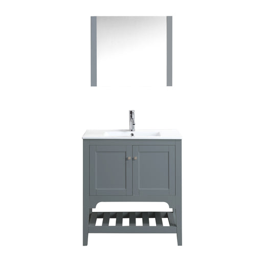 Aquamoon Rimini 31 Mat Grey Free Standing Single Sink Modern Bathroom Vanity Set