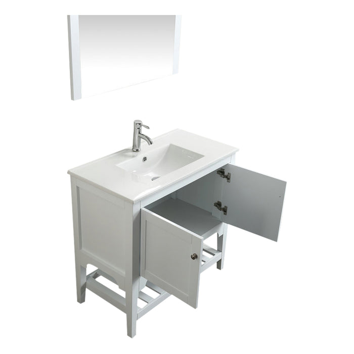 Aquamoon Rimini 36 White Free Standing Modern Bathroom Vanity Set