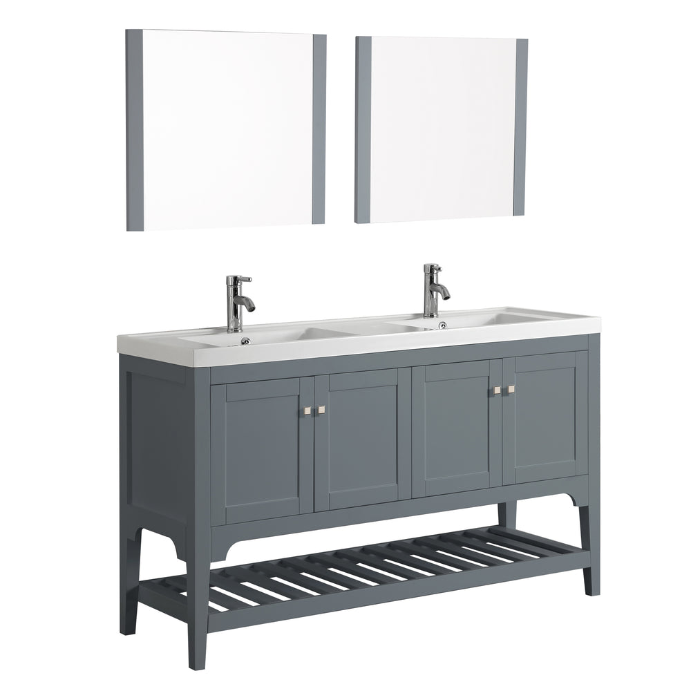 Aquamoon Rimini 60 Double Sink Mat Grey Free Standing Modern Bathroom Vanity Set