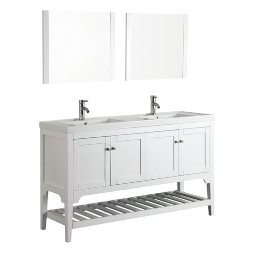 Aquamoon Rimini 60 Double Sink White Free Standing Modern Bathroom Vanity Set