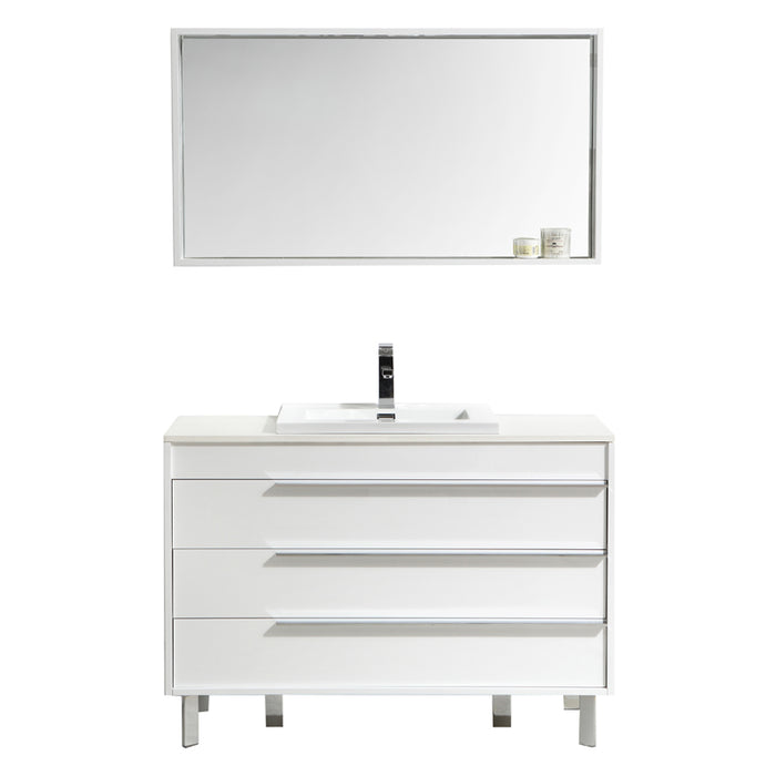 Aquamoon Roma 48 White Free Standing Modern Bathroom Vanity Set