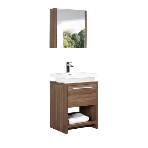 Aquamoon Sparta 24 Walnut Free Standing Modern Bathroom Vanity Set