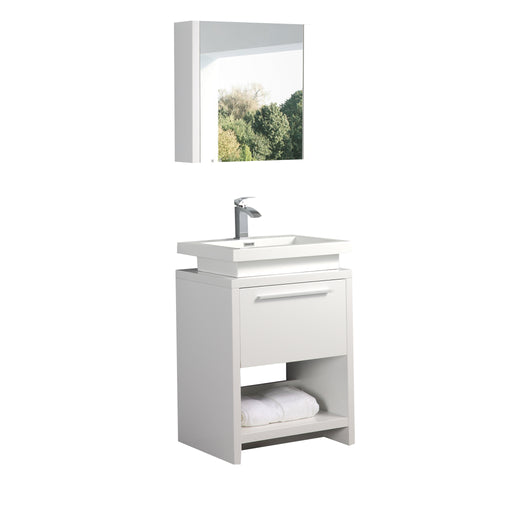 Aquamoon Sparta 24 White Free Standing Modern Bathroom Vanity Set