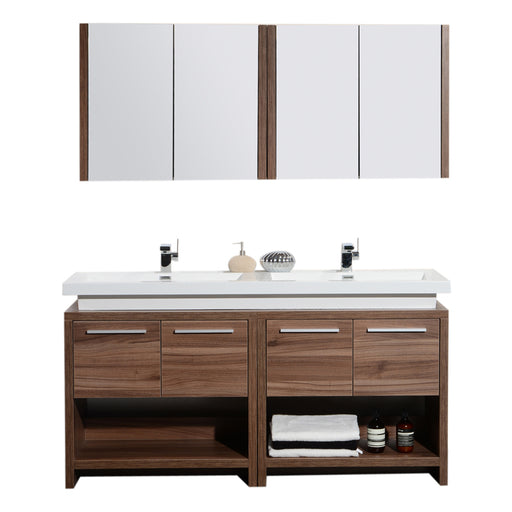 Aquamoon Sparta 63 Double Sink Walnut Free Standing Modern Bathroom Vanity Set