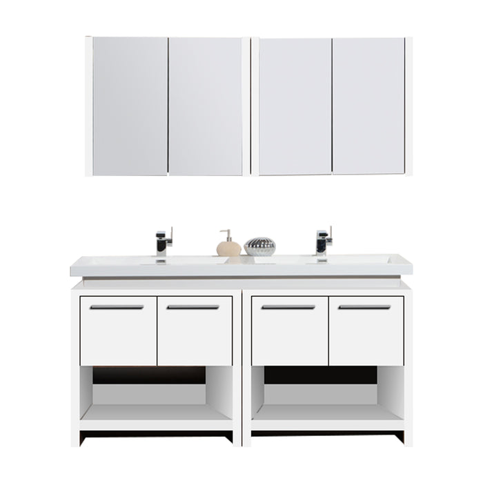 Aquamoon Sparta 63 Double Sink White Free Standing Modern Bathroom Vanity Set