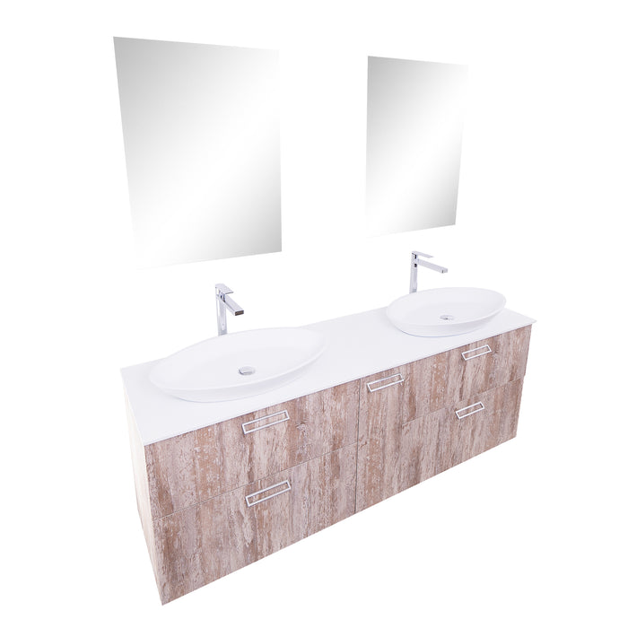 Aquamoon Sunrise 72 Ashwood Double Sink  Wall Mounted Modern Bathroom Vanity Set