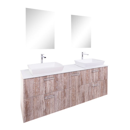Aquamoon Sunrise 72 Ashwood Double Sink Wall Mounted Modern Bathroom Vanity Set - Bath Trends USA