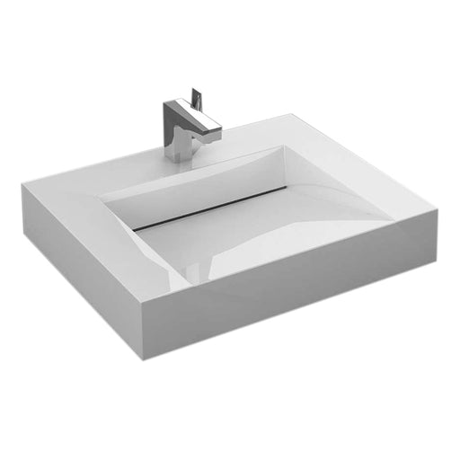 "Aquamoon Venice 24"" Integrated Countertop White Infinity  Sink"