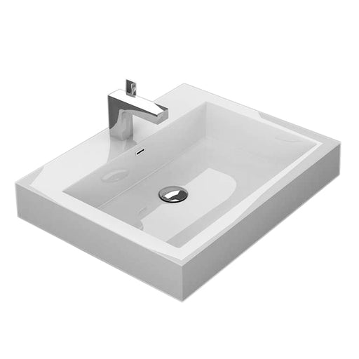 "Aquamoon Venice 24"" Integrated Countertop White Square  Sink"